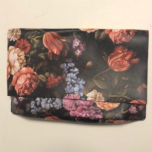 Anthropologie Floral Faux Leather Clutch